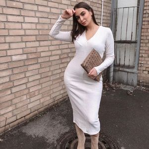 Zara Ribbed V Neck Beige Midi Long Sleeve Dress